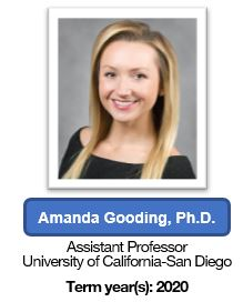 Dr. Amanda Gooding - Founding member (Assistant professor at University of California San Diego) - term year 2020